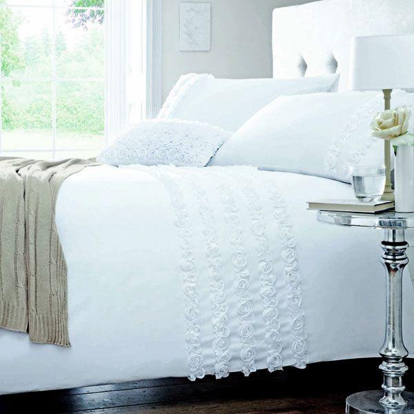 Buy White Rosalie Duvet Cover Set Online Duvet Covers Dunelm Mill Duvet Cover Sets White Linen Bedding Bed