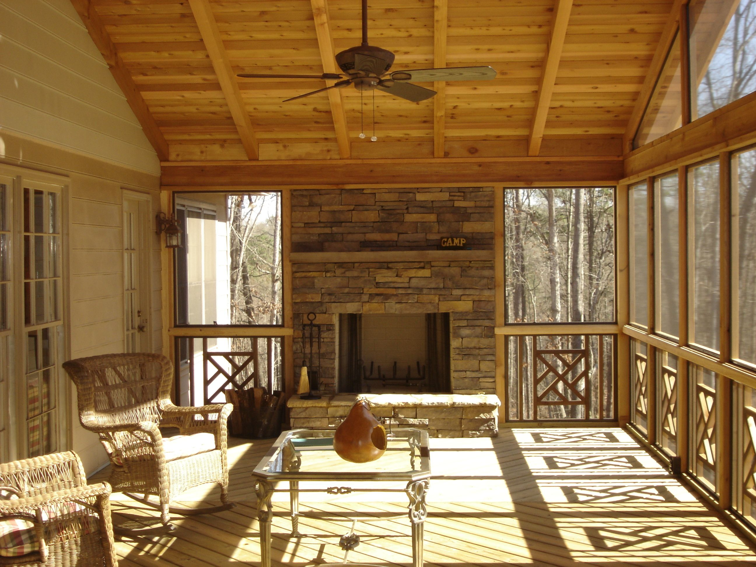Screened In Deck With Built In Fireplace Porch Fireplace Porch Design House With Porch