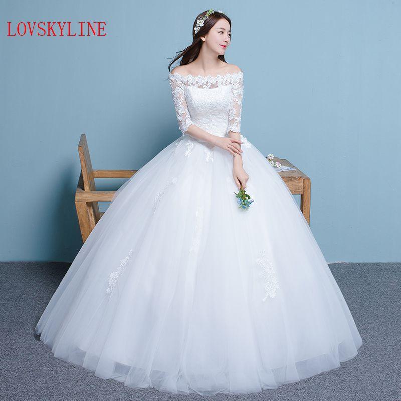 Click to Buy << 2017 slit neckline wedding dress slim Boat Neck Lace ...