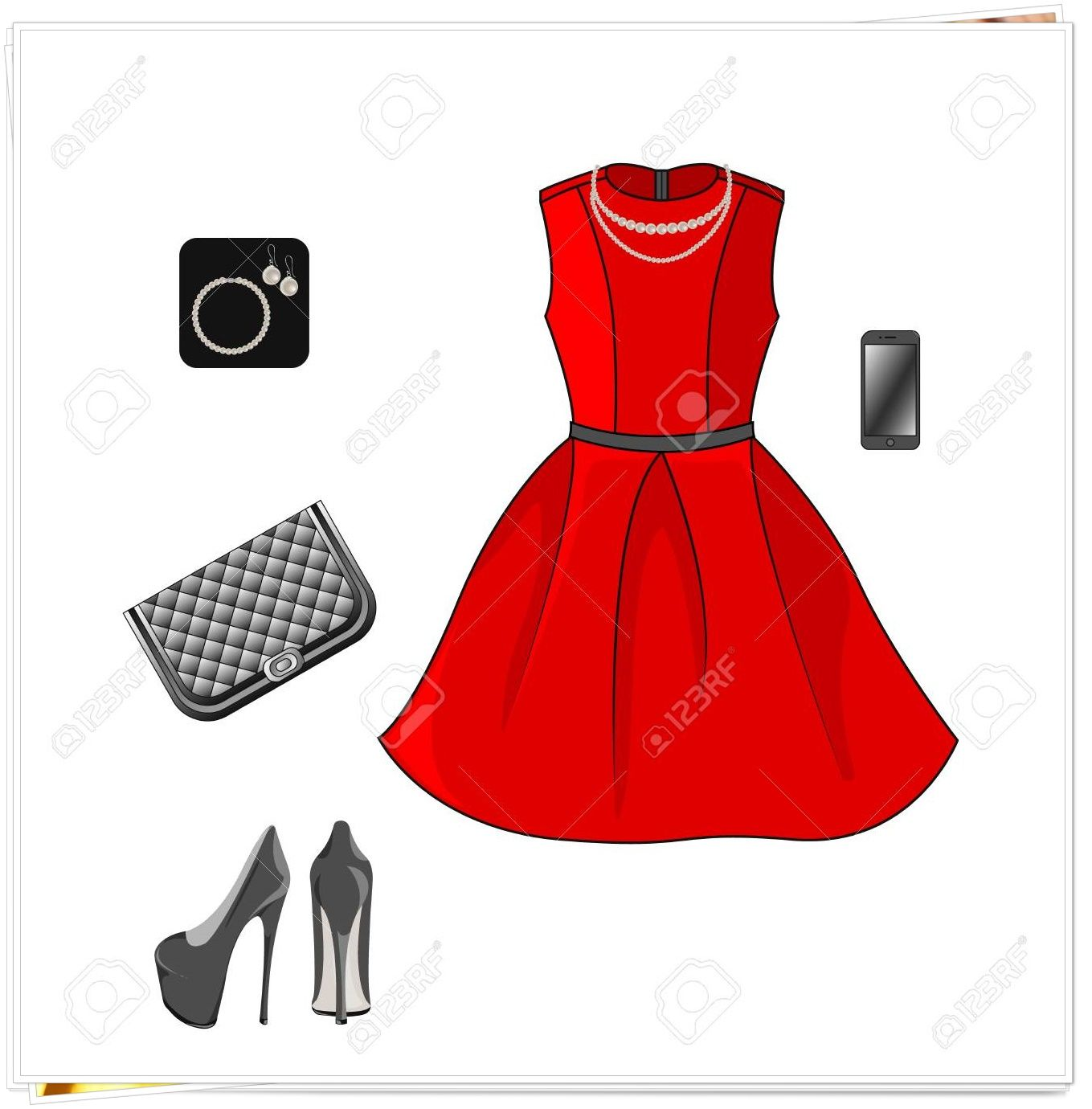 Red Bridesmaids Dress And Gold Accessories Red Dress Accessories Red Bridesmaid Dresses Red Bridesmaids
