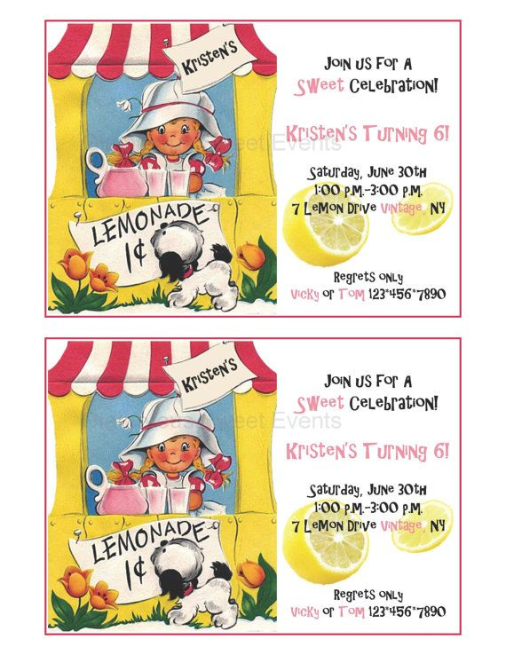 """Get Your Ice Cold Lemonade """"vintage"""" Printable Invitation - GLAMOROUS SWEET EVENTS"""
