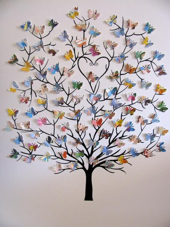 8 x 10 Baum 3D Mini-Schmetterlinge mit Upcycled Love You | Etsy