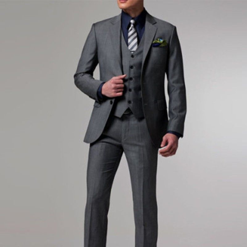2017 New arrivals Custom Made dark gray Groom Tuxedo suit men ...