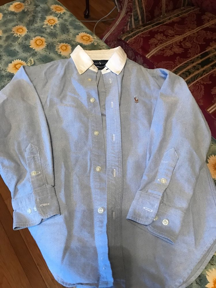 b195d3e9 Boys Ralph Lauren Blue With White Collar BrHorse Button Down Polo Shirt,  Size 6 | eBay
