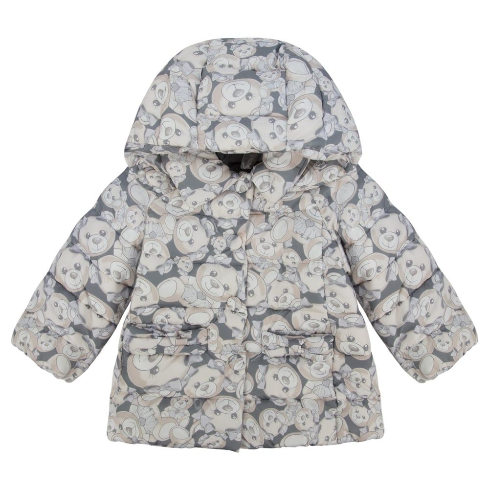 f187b901e Monnalisa Girls Teddy Bear Print Padded Jacket with Detachable Hood ...