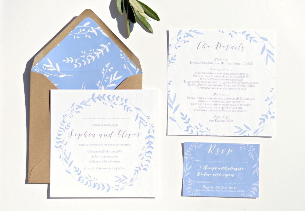 Cornflower Blue wreath wedding collection. A beautiful range with a ...