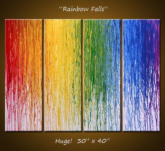 Large wall art / Abstract Art Rainbow Painting Original Large Modern ...