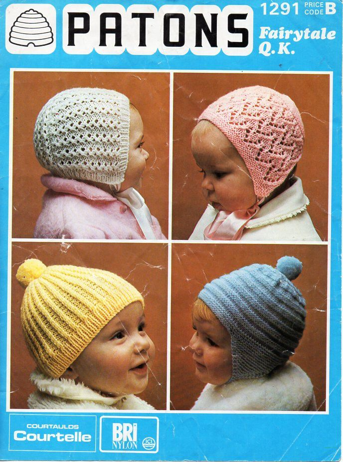 Vintage Baby Hats Knitting Pattern Pdf Baby Bonnets Helmet Cap Qk