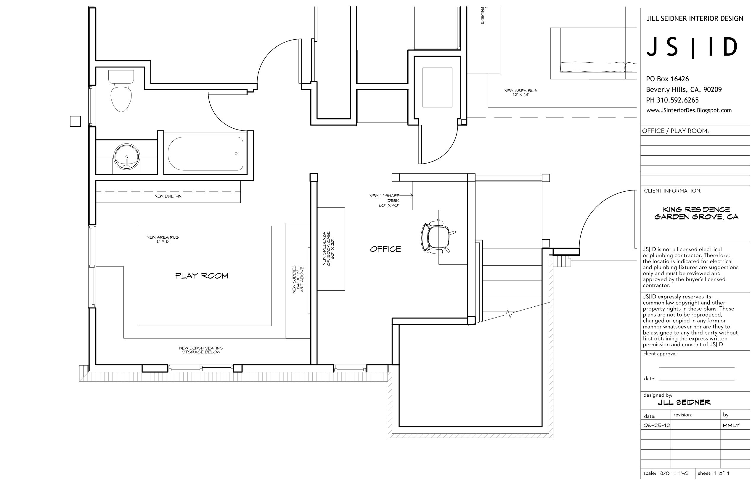 Garden Grove CA Residence Office Playroom Furniture Floor Plan Layout