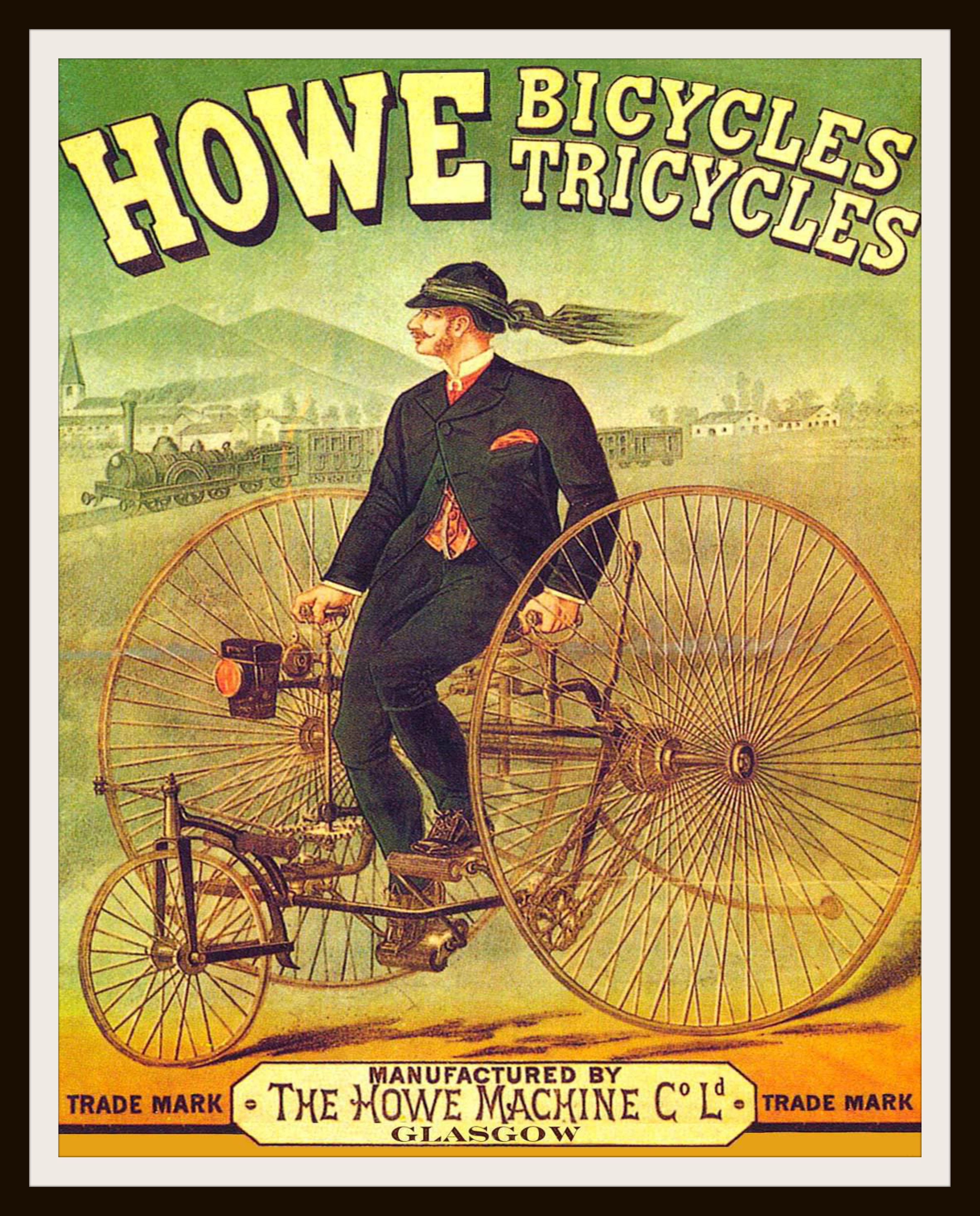 Printed Vintage Bicycle Ad Poster Art Image Reproduction Unframed ...