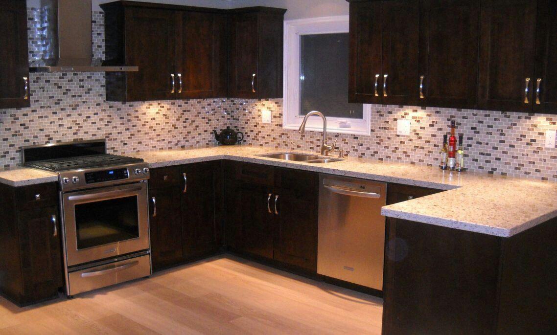 White and brown tile backsplash for kitchen Christmas and