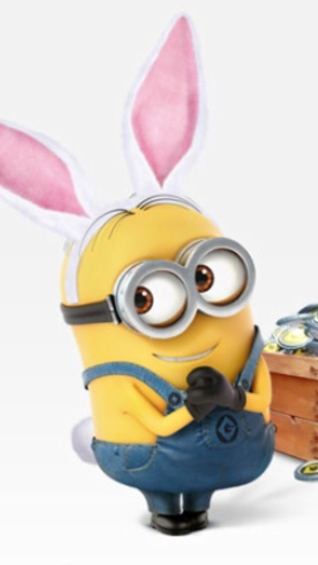 A cute minion with bunny ears from the game minion rush