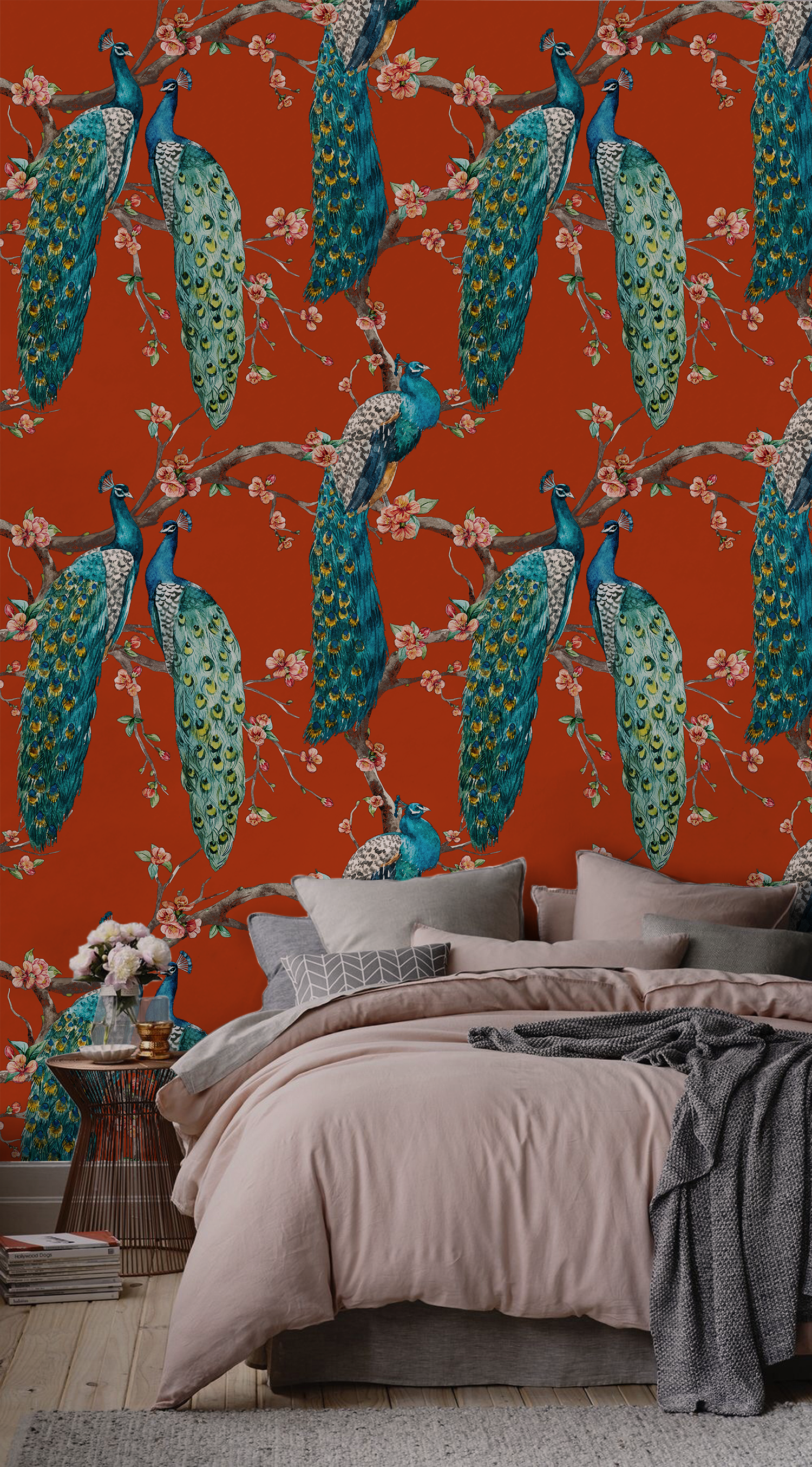 Red Peacock Removable wallpaper Wall covering Peel and