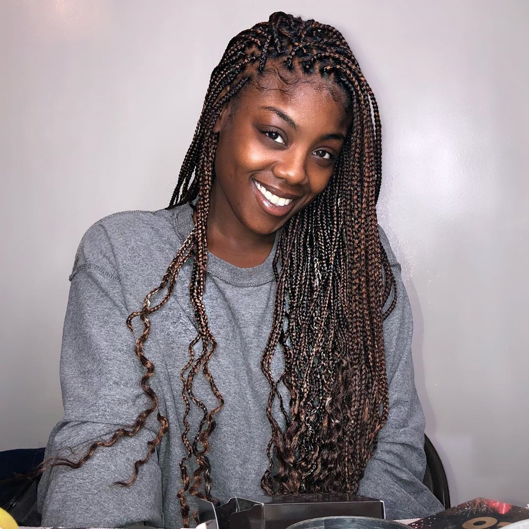 Small Box Braids With Curly Ends Small Box Braids Hairstyles Braids With Curls Box Braids Hairstyles