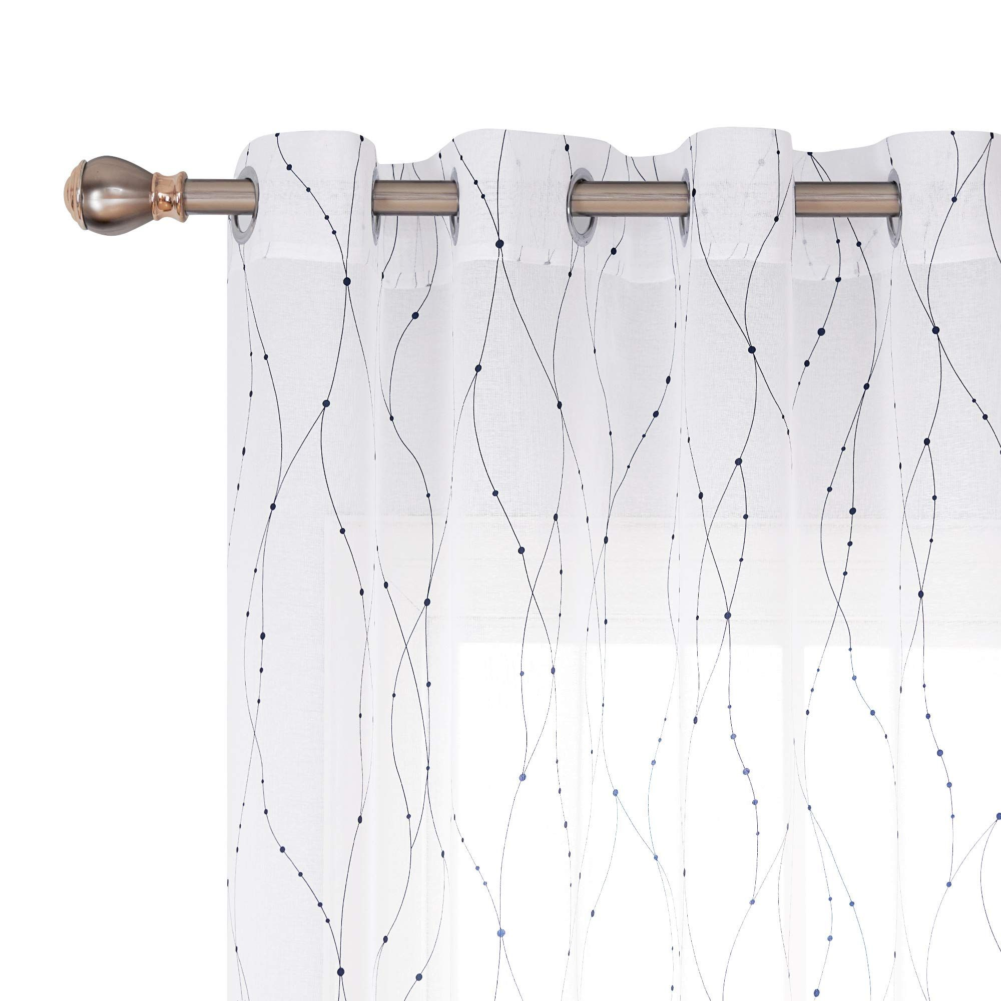 Deconovo White Sheer Curtains 96 Wave Line With Dots Foil Printed