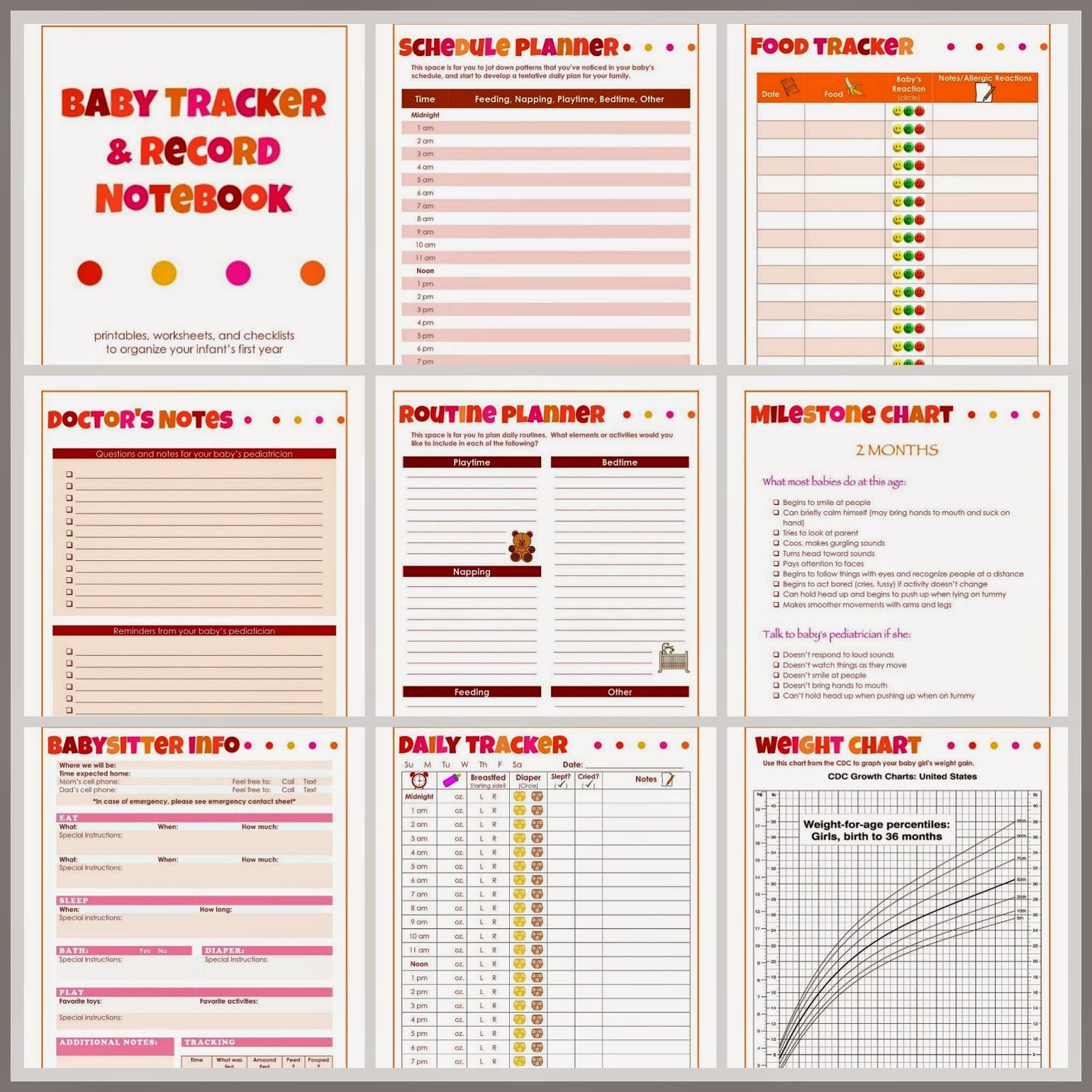 Baby Tracker And Record Notebook For Girls Printables Worksheets And Checklists To Organize