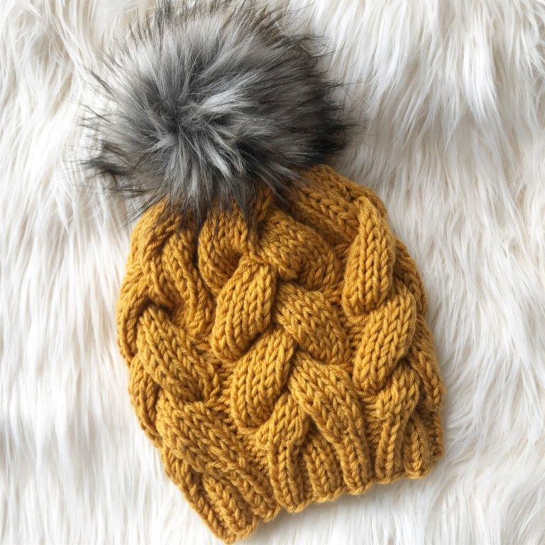 Chunky Braided Beanie | Cable knit hat pattern, Hat ...