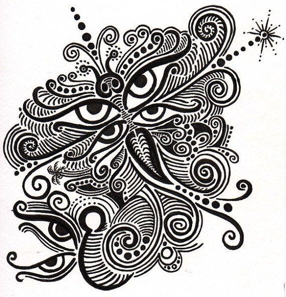 Tribal butterfly art in Black ink decorate with by AranaARTnDESIGN