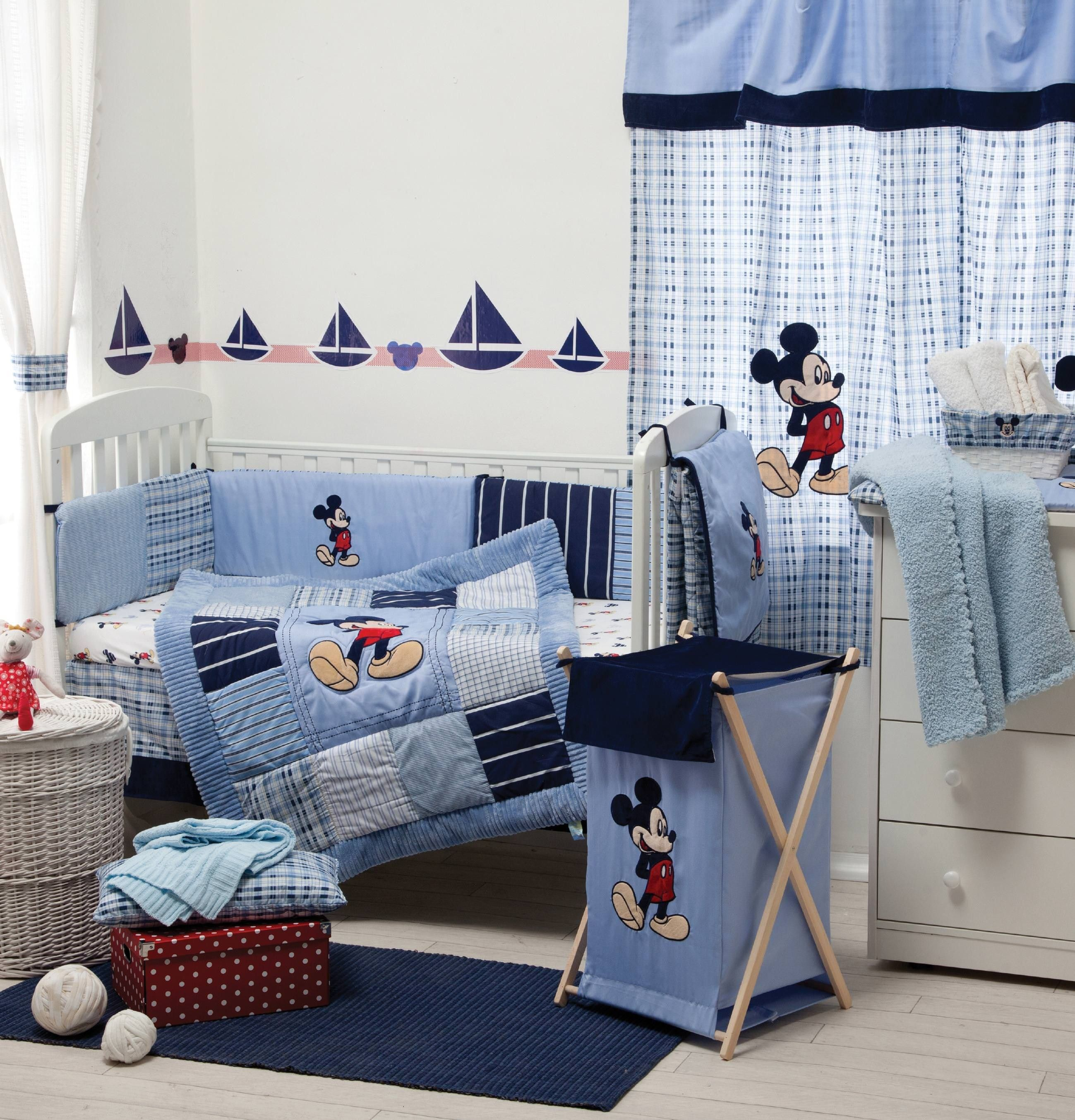 Blue Mickey Mouse Bedding Collection 4 Pc Crib Bedding Set With