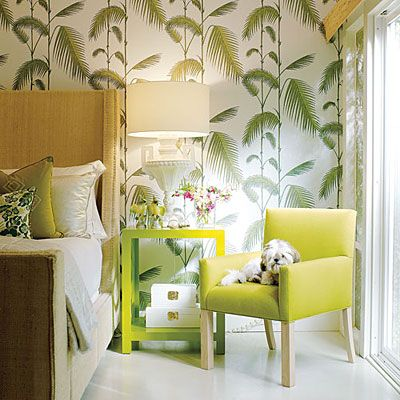 Modern Design Bedroom Bright Green Paint And Palm Frond Wallpaper