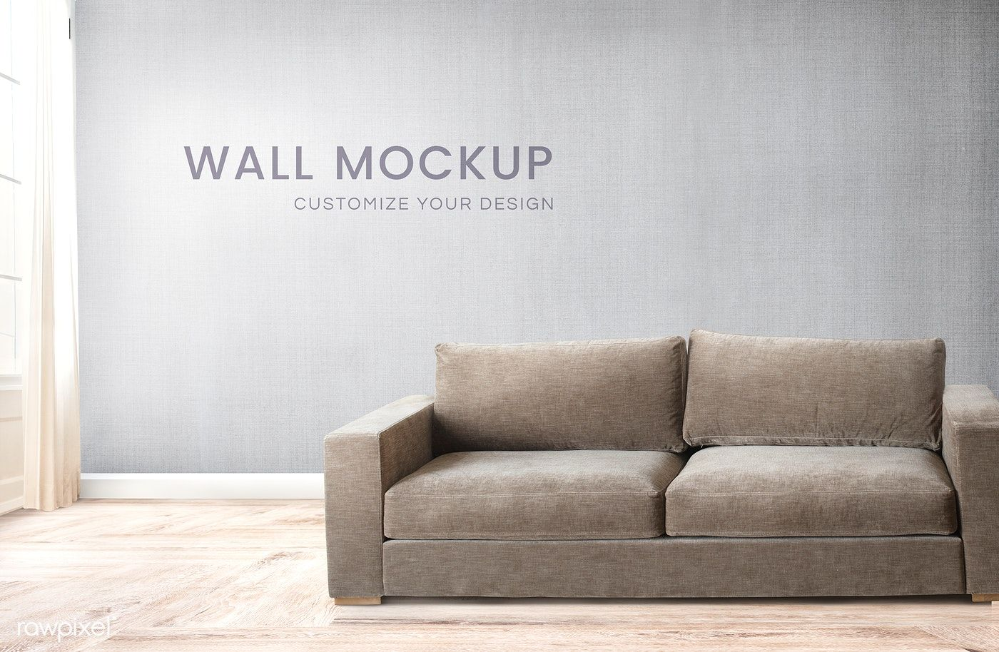 Download Premium Psd Of Brown Couch Against A Gray Wall Mockup 580429 Grey Walls Grey Room Brown Couch