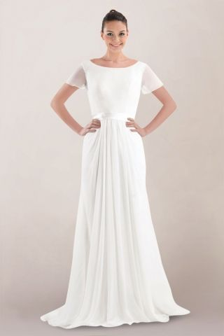 Refined Chiffon Wedding Dress with Bowtie Sash and Low-cut Back