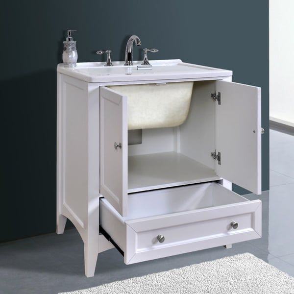 Stufurhome 30 inch White Laundry Utility Sink  Basement