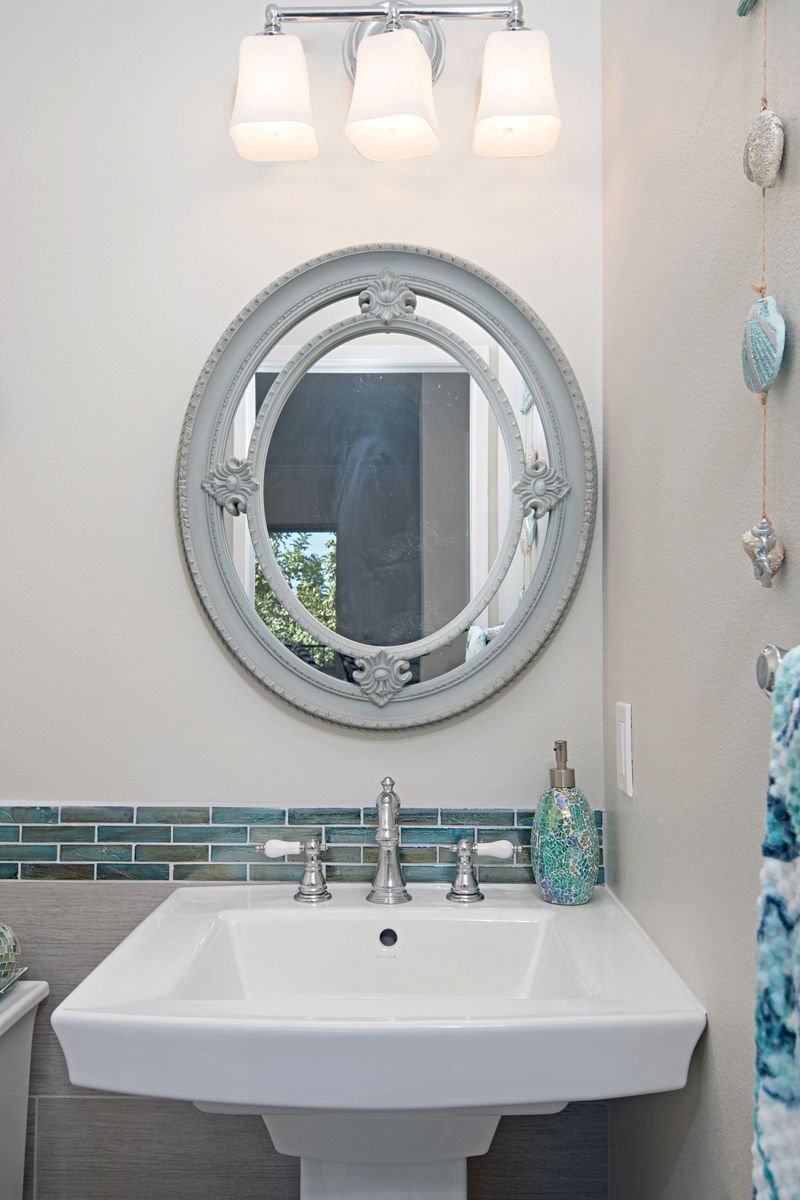 This Powder Room Has A Beach Theme Going Through It Porcelain Tile On The Floor And Walls Look Spectacular Along With Bright Blue Liners Preview First