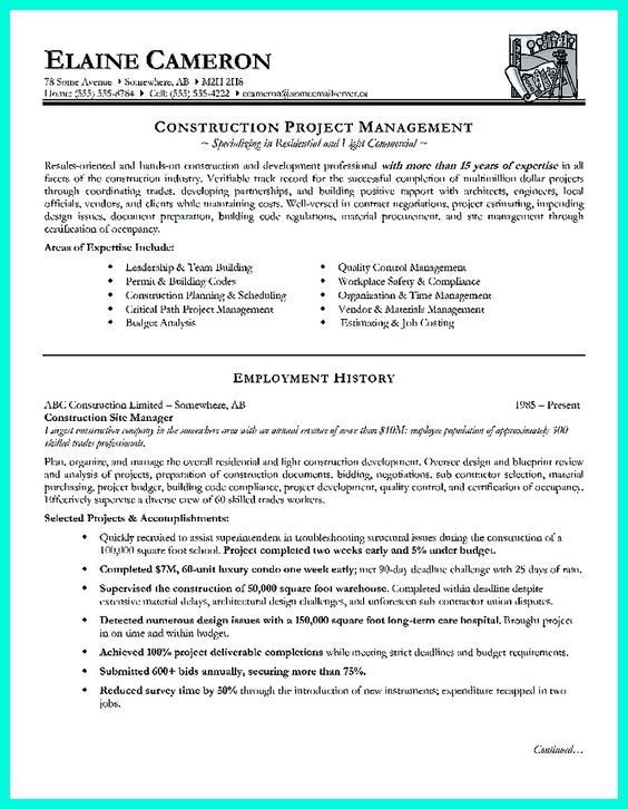 Pin by Hired Design Studio on Resume Writing Pinterest Resume - construction project manager resume