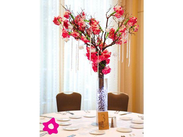 Centro de mesa para boda con cristales arreglos florales - Cristales para mesa ...