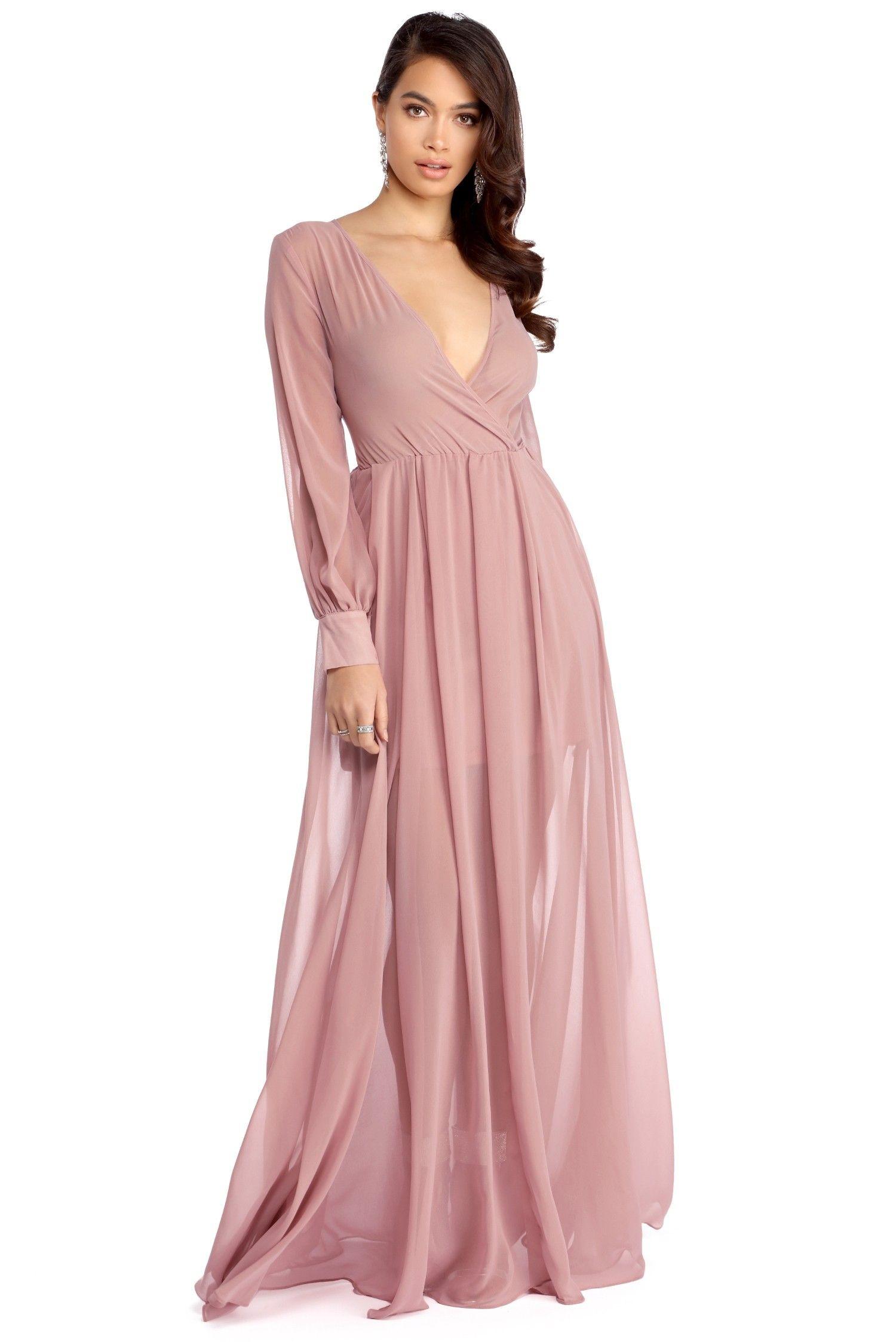 Default View Maxi Dress With Sleeves Chiffon Wrap Dress Flowy Maxi Dress [ 2247 x 1500 Pixel ]