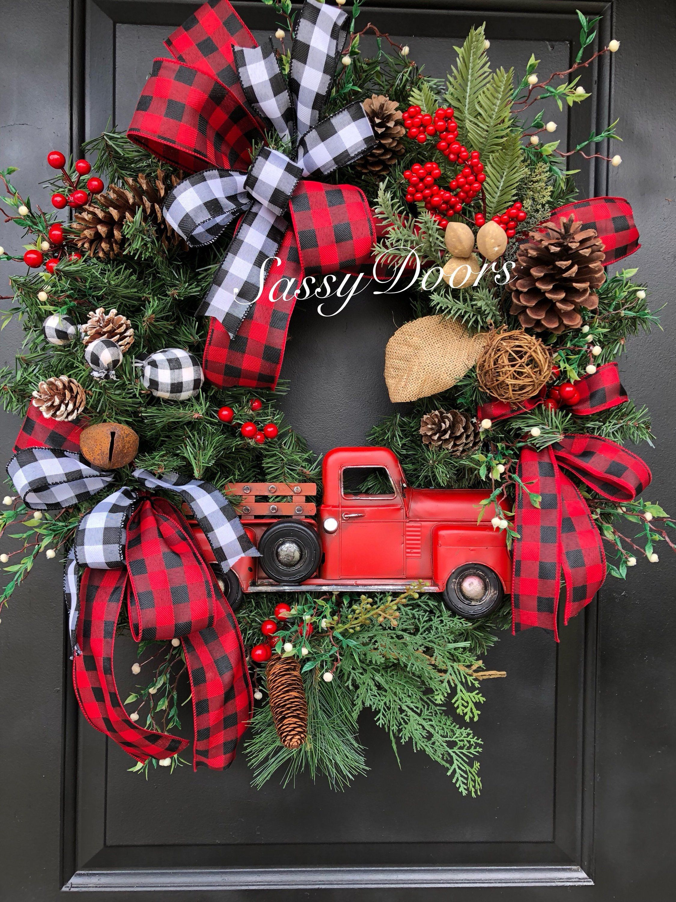 Red Truck Wreath Buffalo Plaid Wreath Red Truck Christmas Wreath Rustic Christmas Wr Outside Christmas Decorations Rustic Christmas Wreath Christmas Wreaths