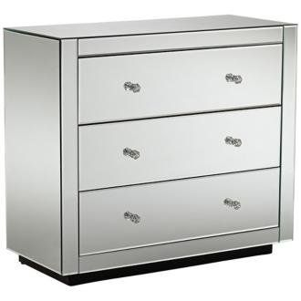 "Audrey 3-Drawer Mirrored Chest by Universal Lighting and Decor. $399.99. Contemporary mirrored chest. Mirrored finish. 3 drawers. 35 1/2"" wide. 31 1/2"" high. 15 3/4"" deep."