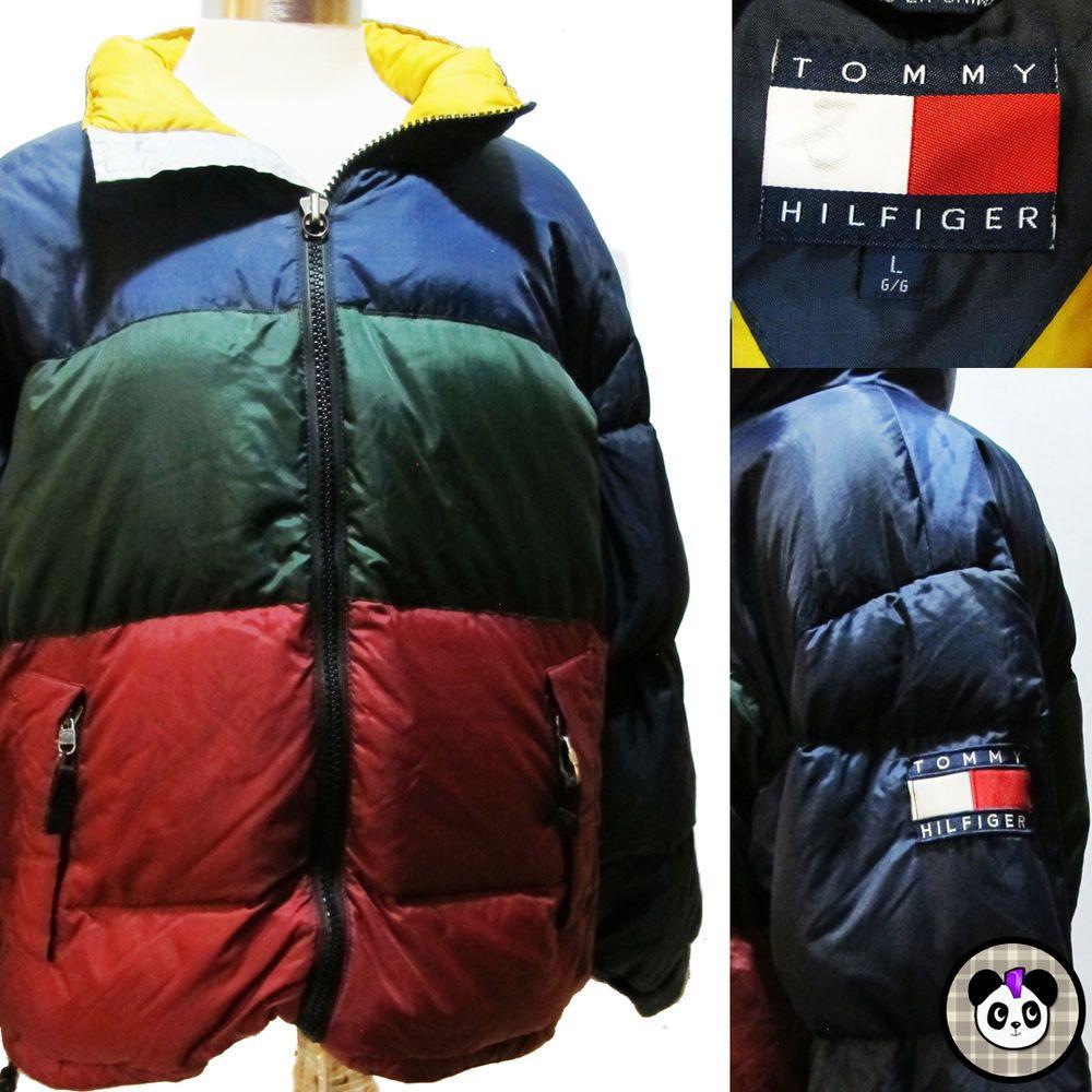 e90fcd4728 Vtg 90s Tommy Hilfiger Down Puffer Coat Jacket Color Block Flag Hip Hop Sz L   TommyHilfiger  Puffer  90s  hiphop  colorblock