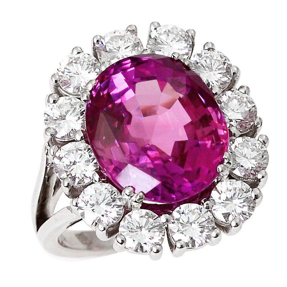 Pink Sapphire Diamond Gold Cluster Ring | 1stdibs.com ...