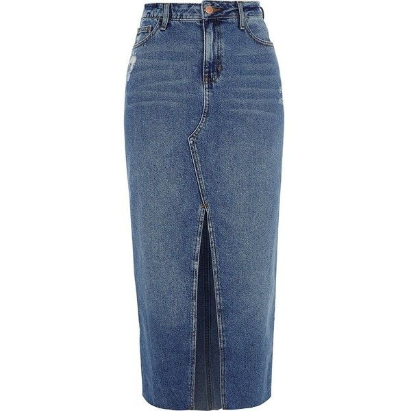 Huge Surprise Womens Navy split front denim pencil skirt River Island Clearance Newest Pre Order For Sale ZA4Qhk5