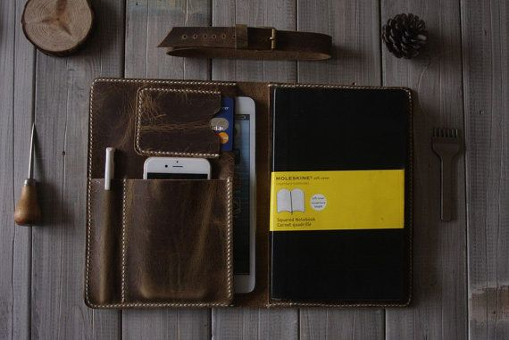 Leather Portfolio Ipad Mini Case Large Moleskine By Cpscraftstudio
