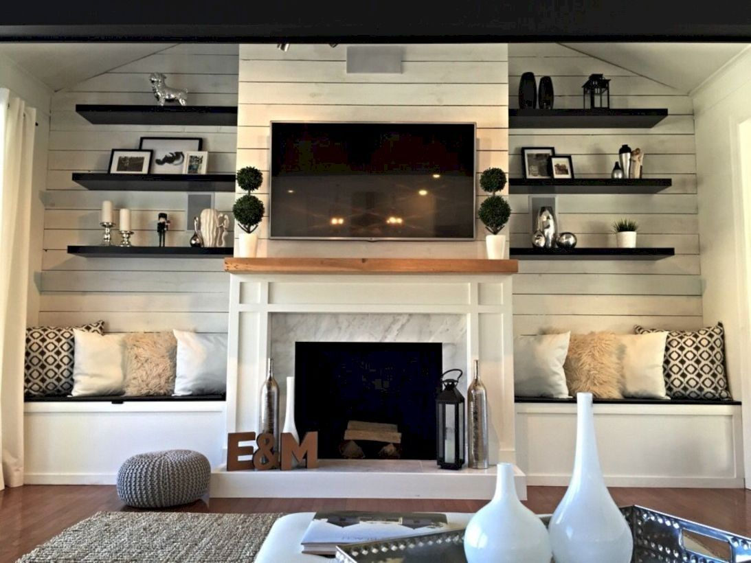 Shelves Around Fireplace Image By Marcia Finckbone On Remodel In 2020 Fireplace Seating Living Room With Fireplace