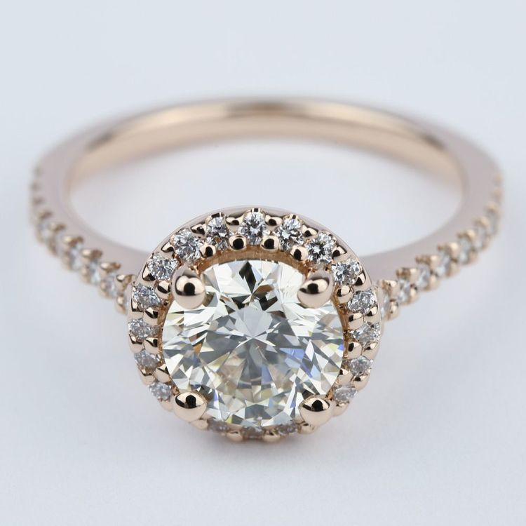 Diamond Engagement Ring in Rose Gold with M Color Diamond Jewelry