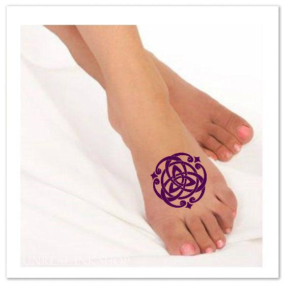Temporary Tattoo Celtic Knot Fake Foot Tattoo by UnrealInkShop