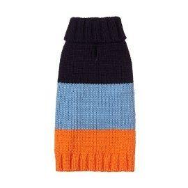 striped dog sweater | Fab Dog Color Block Knit Dog Sweater, Navy/Blue/Orange Striped