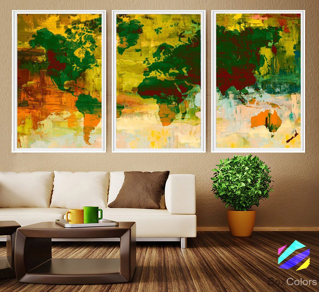 XL 3 Panels Poster World Map Art Print Photo Paper Abstract ...