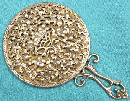 Antique Italian Floral Repousse Hand Mirror