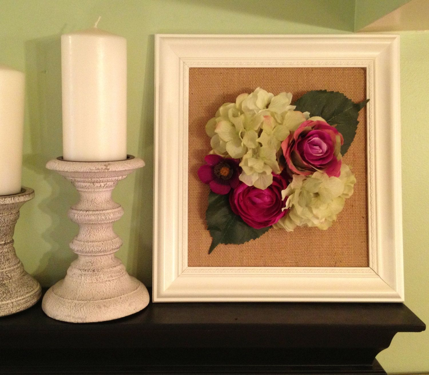 3D Flower Art - Purple and Green Flowers on Burlap - Framed Wall Art ...