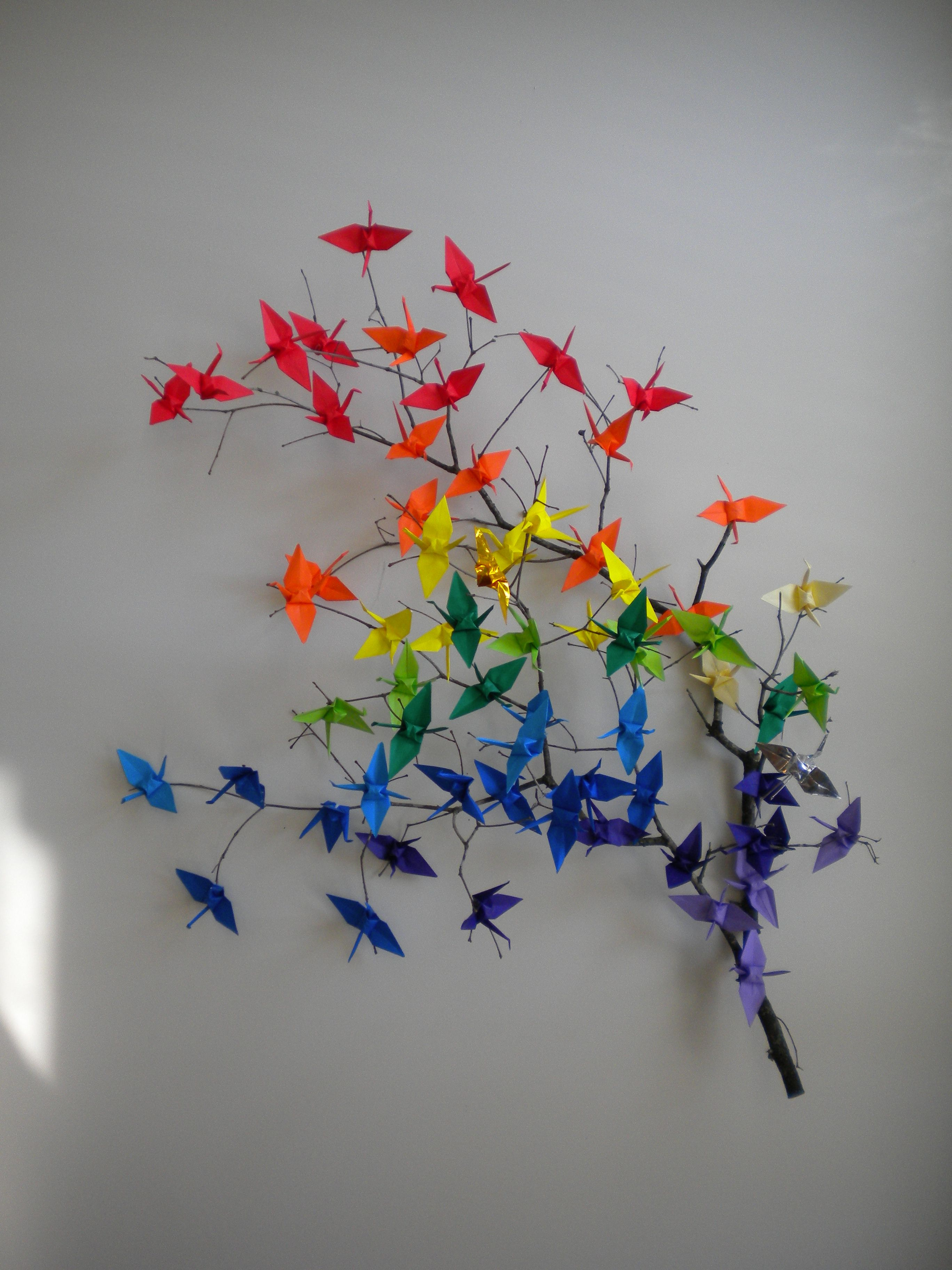 Origami Cranes On A Branch Kleur Idee Origami Mobile Beauty En