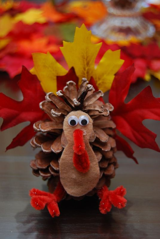 pinecone turkey craft gobble gobble thanksgiving craft 2686