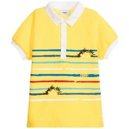 3827ffe91366 Fendi - Boys Yellow  Bag Bugs  Polo Shirt with Stripes ...