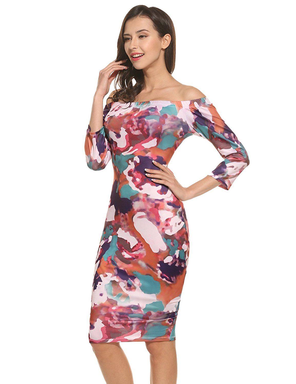 Zeagoo Kleider Damen casual Schulterfrei reizvolles schlankes Kleid ...