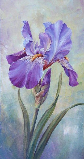 Single Iris Iris Art Iris Painting Acrylic Painting Flowers