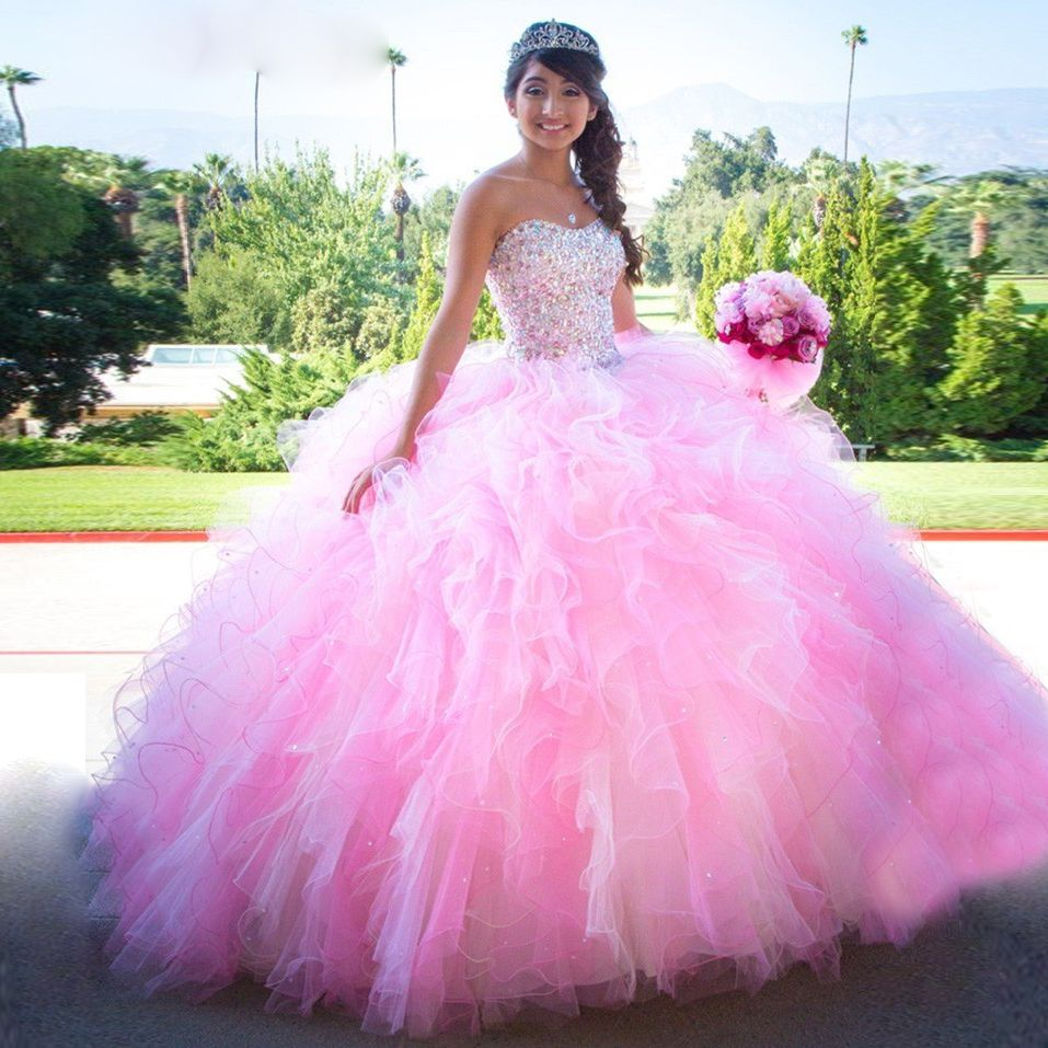 Pink Ball Gown Puffy Quinceanera Dresses Sweetheart Sparkly Beading Sweet 16 Dress For S Vestidos De